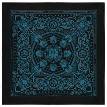 Skull and Keybones Bandana - Black and Teal 2